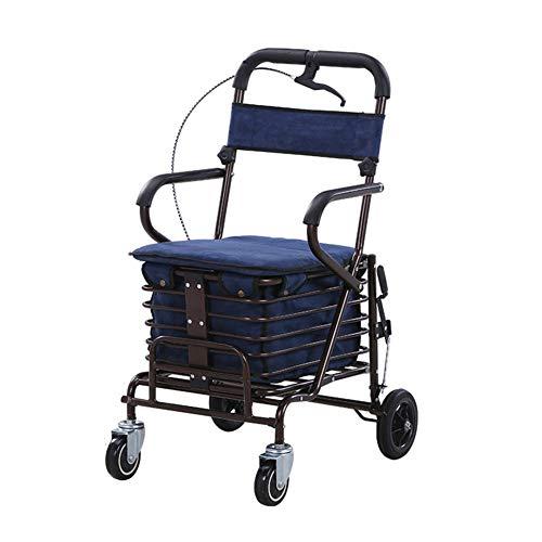 XYYZX Aggiornato Carrello Portaspesa, 2 en 1 Pieghevole Carrello Spesa Super Caricamento 100kg Sedia a rotelle Pieghevole, Carrozzina disabili, Seduta 44 Centimetri,Blu
