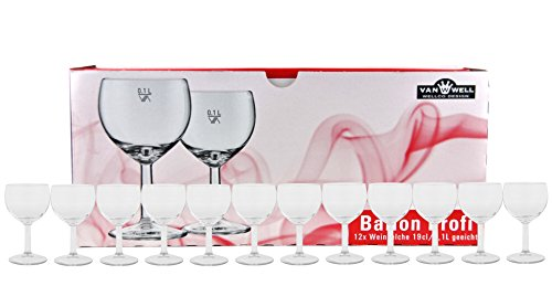 Van Well - Set di 12 calici da vino professionale, 19 cl / 0,1 l, calibrati