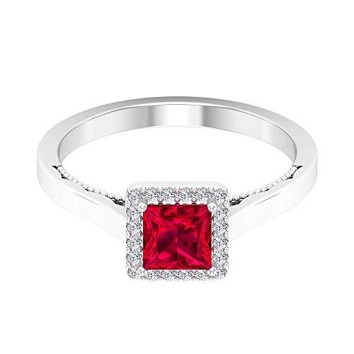 Rosec Jewels 10 quilates oro rosa talla princesa round-brilliant-shape H-I Red Diamond Ruby