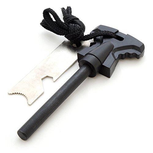 Ganzoo Pierre à feu avec bloc de magnésium pour Camping Extérieur Survie - Noir - 68 mm de longueur