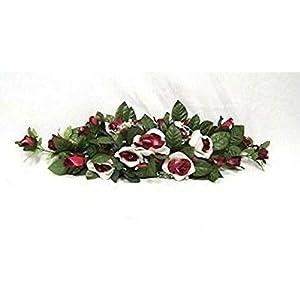 Cream Burgundy Swag Silk Wedding Roses Centerpiece Flowers Arch Gazebo Pew Decor Artificial OSW01