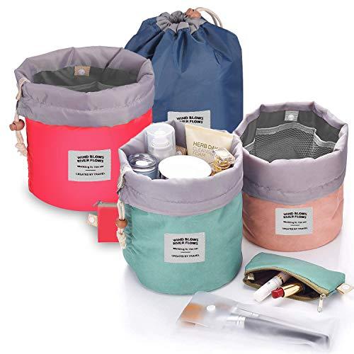 Counting Mars 4 Pieces Barrel Shaped Travel Makeup Bags, Large Capacity Soft Waterproof Portable Drawstring Cosmetic Bag