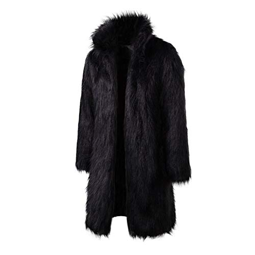 Men Faux Fur Coat Jacket,Winter Mens Warm Thicker Fur Coat Outwear,long Parka Overcoat (S, Black)