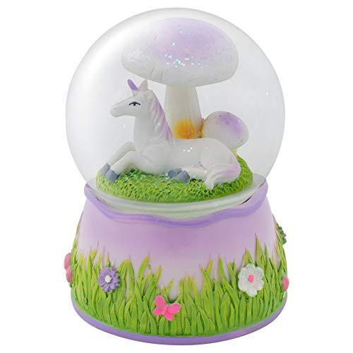 Elanze Designs Violettes Einhorn unter Pilz, drehbar, 100 mm Wasserkugel spielt Erinnerungen