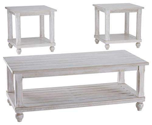 Cloudhurst Contemporary 3-Piece Table Set - Includes Cocktail Table & Two End Tables, White Wash Wood