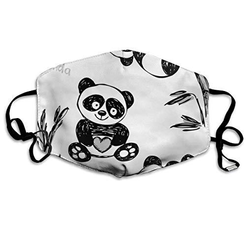 Bequeme Winddichte Maske, fröhlicher Panda Verschiedene Posen mit Bambuszweig Kinder malen Kunstdruck