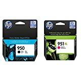 HP 950 Cn049Ae, Negro, Cartucho De Tinta Original, De 1.000 Páginas, para Impresoras + 951Xl Cn047Ae Magenta, Cartucho De Alta Capacidad Original, De 1.500 Páginas