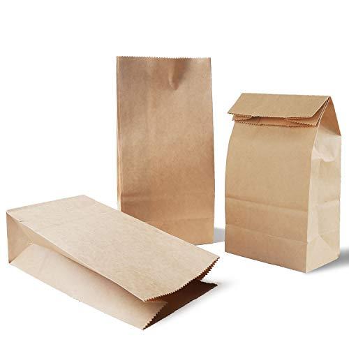 Mitening 100 STK. Papiertüten Braun, Klein Tütchen Papier-Beutel Kraftpapier Tüten mit Boden 9 x 18 x 5.5 cm Geschenktüten Papier für Adventskalender Gastgeschenke Geburtstag Hochzeit Brote Keks