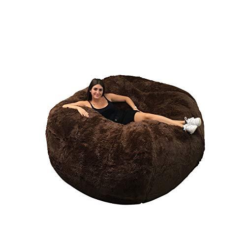 Puf gigante de 160 cm de diámetro de piel XXL con espuma triturada ultra cómoda, sofá, doble funda lavable a máquina, pera, cojín, sofá (chocolat)