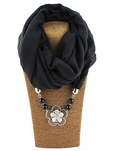 Donna Sciarpa Loop Elegante Invernali Decorato Monocromo Vintage Sciarpa Ad Anello Sciarpa Invernale Stole Sciarpa Ragazze Giovane Scaldacollo (Color : Nero, Size : One Size)