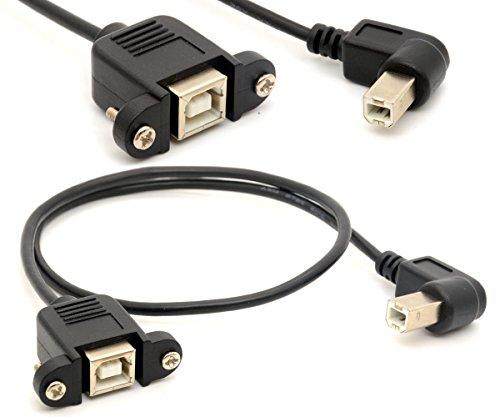 Extensión de la Impresora Cable USB 2.0 Adaptador Macho a B Conexiones Hembra de 90 Grados zócalo en ángulo Recto escáner cordón con Tornillo de Montaje en Panel 0.5m
