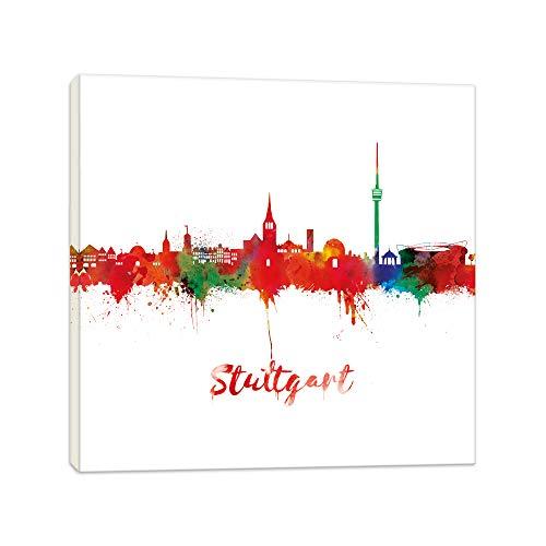 Wandbilder Wohnzimmer - Stuttgart Light - 20x20cm Bilder Leinwanddrucke/Street Art Graffiti Kunstdruck 2cm - Leinwandbild Wandbild/fertig aufgespannt/fertig zum aufhängen