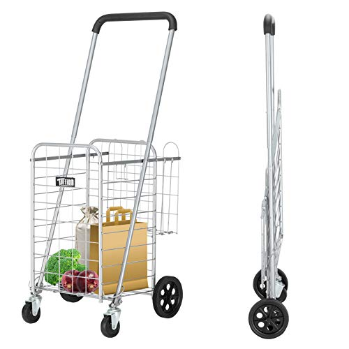 TUFFIOM Folding Shopping Grocery Cart, Heavy Duty & Lightweight Utility Cart with Double Basket, Adjustable Height, Swivel Wheels, for Grocery Laundry Book Luggage Travel, 66lbs