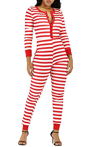 Women's Petite Ugly Christmas Onesie Stripe Print One Piece Pajamas Clubwear Nightwear Long Sleeve Jumpsuit Sleepwear (Red, XXXL)