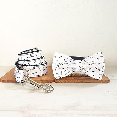 YINGNBH Correa Cuello y Correa de Perro Conjunto con Pajarita Blanco Blanco con línea Negra Hebilla de Metal Big and Small Dog & Cat Collar Accesorios para Mascotas