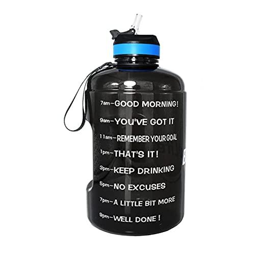 JXHYKJ 3.78L 2.2L 128oz Gallon Botella de Agua con Botellas de Bebida plástica de Paja Copa Deportiva de la Jarra de la Jarra (Capacity : 2.2L 73oz, Color : Black Bottle)