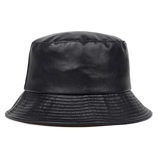 ZHENQIUFA Sombrero Pescador Gorras Sombrero De Cubo De Panamá De Cuero Sintético Sombrero De Cubo Sombrero De Doble Cara Gorra De Moda De PU para Mujer Gorra De Pescador De Panamá