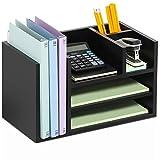 FITUEYES Schreibtisch Ablagesystem Tisch Organizer aus Holz schwarz DO304202WB