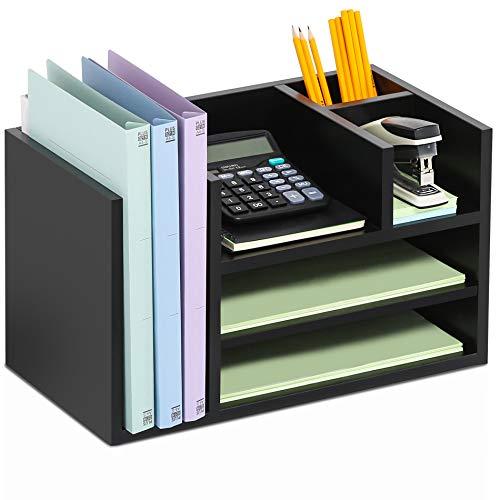 FITUEYES Schreibtisch Organizer Holz Schwarz 6 Ablagefächer für Büro und Zuhause 41.9x24x25cm DO304202WB