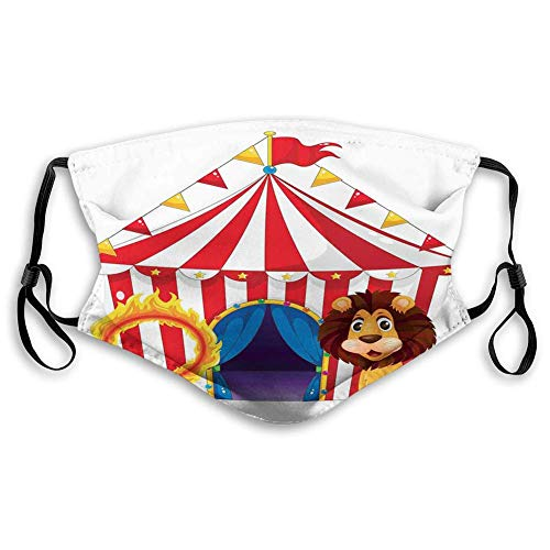 Mouth Cover Mouth Scarf Face Scarf Lion and a Fire Ring in Front of The Circus Tent Lightbulbs,Reusable Mouth Muffle Balaclava Washable Outdoor Nose Mouth Shield 20CM X 15CM