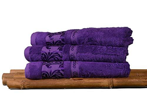 "Bamboo Bath Towel, 100% Organic,Bath Towel Set, 27""x55""inch-Pack of 3, Premium,Ultra Soft for Baby,Adult,Elderly,Sensitive Skin-Decorative-Bathroom-Hotel-Spa- Multi-Purpose (Purple)"
