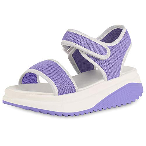 SCARPE VITA Damen Plateau Sandaletten Glitzer Schuhe Wedges Keilabsatz Sandalen Profilsohle Sommerschuhe 182821 Lila 38