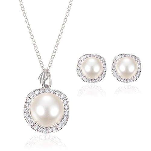 Malloom Elegant Crystal Rhinestone Bridal Wedding Jewelry Necklace+ Earrings Set (D)
