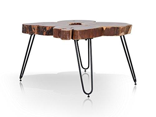 moebel-eins Varia Beistelltisch/Couchtisch, Material Massivholz/Eisen, Akazie/schwarz