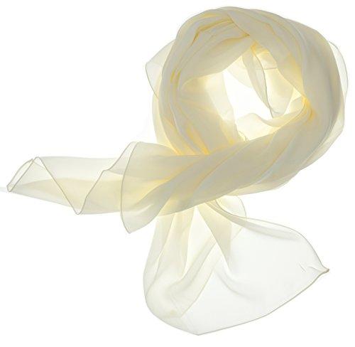 DOLCE ABBRACCIO by RiemTEX ® Schal Damen LADY SUNSHINE Seidentuch Tücher mit hohem Seidenanteil Pashmina Stola Tuch Halstuch in zartem Creme Kopftuch Damen Seidenschal Elegante Schals (Creme)