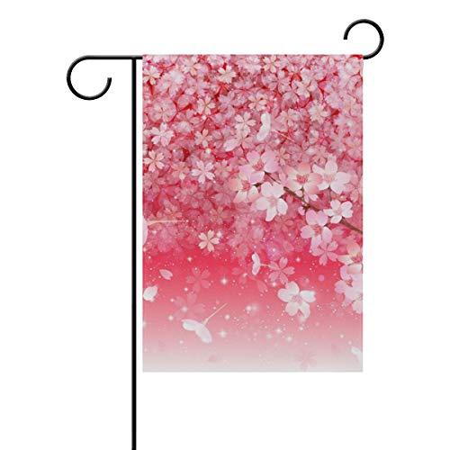DEZIRO Drapeau de Jardin Double Face Motif pétales de Cerise de Sakura, Polyester, 1, 28x40(in)