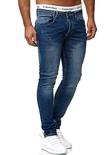 OneRedox Designer Herren Jeans Hose Slim Fit Jeanshose Basic Stretch 602 Classic Blue Used 34/32