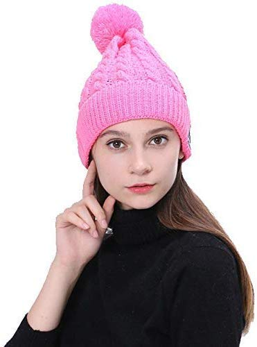 Vizliter Bluetooth Beanie with Headphones Winter Fashion Pom Pom Wireless Hat with Built-in Mic, Rechargeable and Volume Control and HD Stereo Speakers, Warm Cable Knit Cap Cuff (Pink)