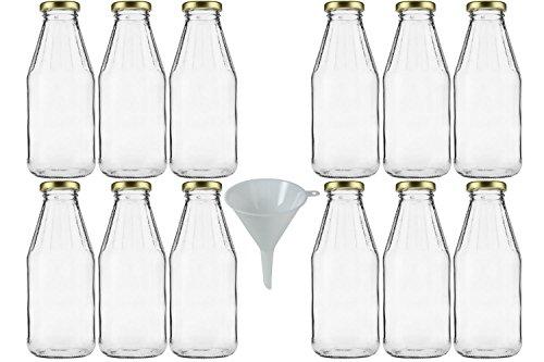 mikken 12 x Glasflasche 500 ml, Flasche mit Schraubverschluss Gold inkl. Trichter