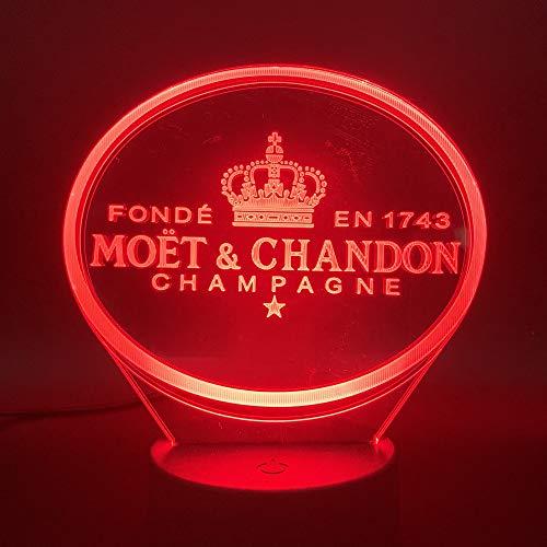 3D Led Nacht Licht Moet Et Chandon Champagne Lamp Binnen Decoratie Kleur Veranderende Touch Sensor Afstandsbediening Lamp