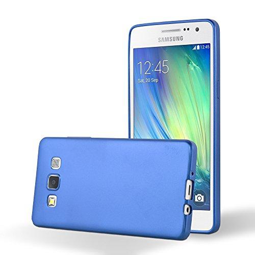 Cadorabo Hülle für Samsung Galaxy A5 2015 in METALLIC BLAU - Handyhülle aus flexiblem TPU Silikon - Silikonhülle Schutzhülle Ultra Slim Soft Back Cover Hülle Bumper