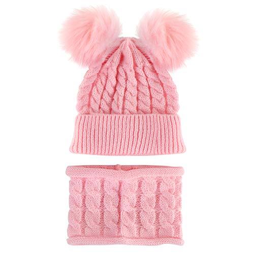 2 gorros de punto para bebé con bufanda de punto para invierno, cálido gorro con lazo circular, bufanda, calentador de cuello - rosa - 0- 3 años