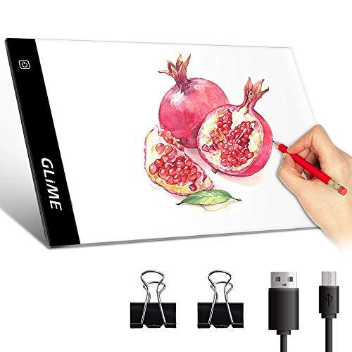 GLIME LED Licht Pad A4 Light Pad LED Leuchtplatte Leuchttisch LED Zeichnung Pad Ultradünner Lichtkasten Copy Board mit einstellbare Helligkeit, USB Kabel für Malen Animation Tattoo Zeichnung