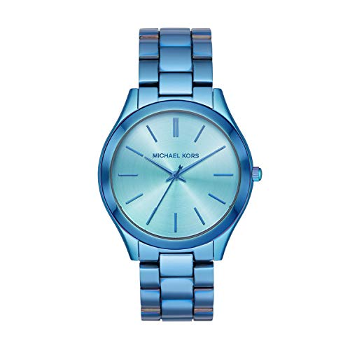 Michael Kors Women's Slim Runway Quartz Watch with Stainless Steel Strap, Blue, 20 (Model: MK4390)