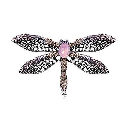 UUK Aleación púrpura esmalte mariposa libélula pájaro broches hombres y mujeres Metal Rhinestone insectos banquete boda