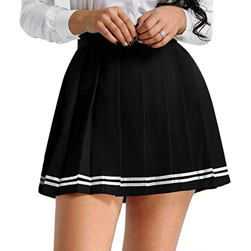 MSemis Women's School Uniforms Pleaded Mini Skirts High Waisted Flared Sport Skater Skirts Plus Size Black 3X-Large