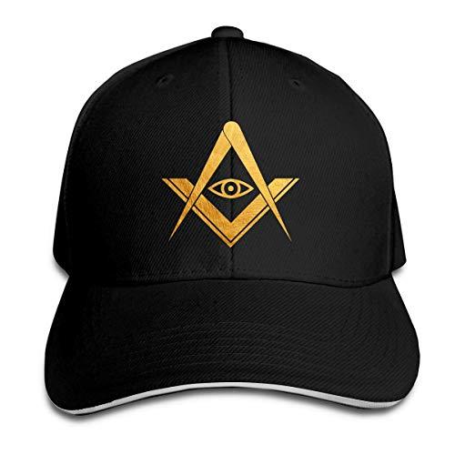 Bikofhd Freimaurer Gold All Seeing Eye Symbol Verstellbare Sandwichkappe Baseball Cap Casquette Hut