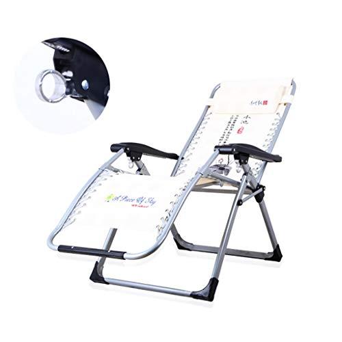 BSQT Silla Zero Gravity Silla Plegable y Transpirable Informal para el Descanso para el Almuerzo Única Oficina Simple Siesta Cama Cama Plegable tamaño: 65 * 77 * 180 cm Muebles de Jardin (Color : B)