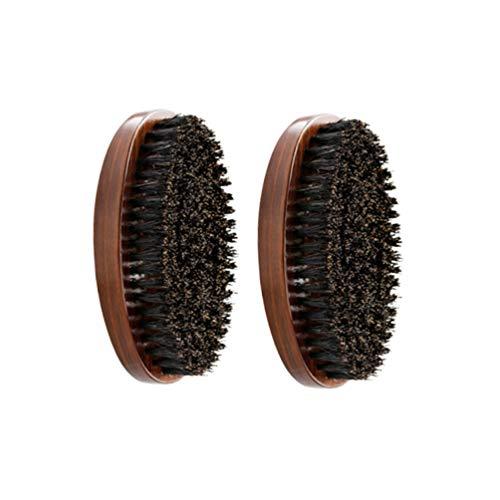 Healifty 2pcs poils naturels barbe brosse barbe en bois styling maker barbe peigne toiletteur moustache brosses accessoires pour hommes (camouflage + bois)