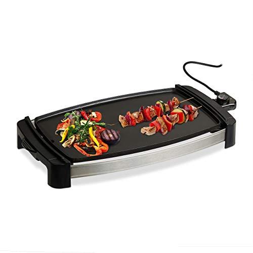 Relaxdays Plancha Cocina, Grill Eléctrico de 2000 W, Parrilla para Asar, Antiadherente, Aluminio, 45 x 30 cm, Negro