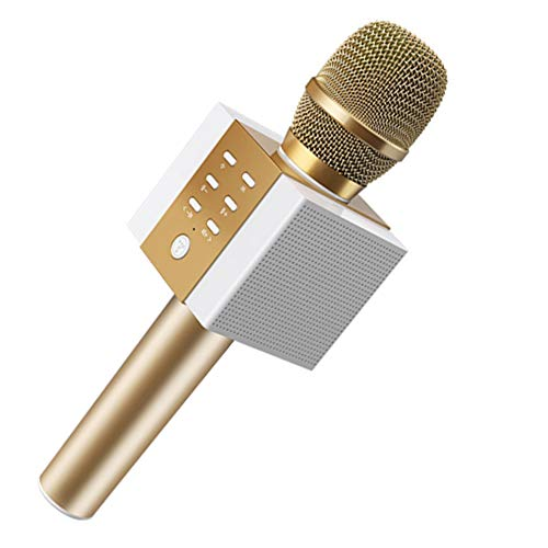 SPARKX Micrófono Inalámbrico De Karaoke Bluetooth, 10W Más Potencia, Mayores De Bajos, Altavoz Portátil De Tres En Uno Dobleta De Doble Cuerno,Oro