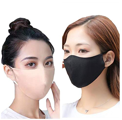 ROSEWARD 100% Mulberry Silk Face Covering Cloth Bandana Mask Neck Gaiter Breathable Hypoallergenic Cooling with Filter Pocket Washable Reusable Adjustable-Beige & Black/2 Pack