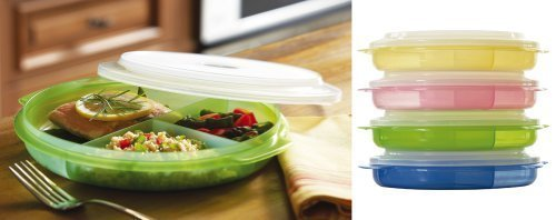 BW Microwave Divided Plates With Vented Lids - (Set of 4 In Assorted Colors)