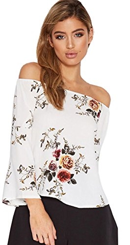 Longwu Magliette a maniche lunghe della camicia della camicetta stampata floreale della spalla delle donne di modo