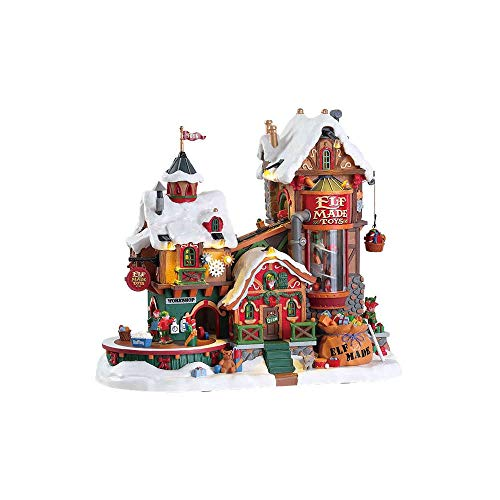 Lemax 75190 Elf Made Toy Factory, Santa's Wonderland Sights & Sounds Collection, Polyresin Plastic Blend Lighted Miniature Building, X'mas Decor/Gift/Collectible, Volume Control, 10.43