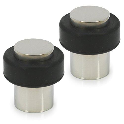 com-four® 2X Türstopper aus poliertem Edelstahl, Bodentürstopper mit Gummipuffer und Befestigungsmaterial, 4 x Ø 3,8 cm (Edelstahl poliert - 02 Stück)